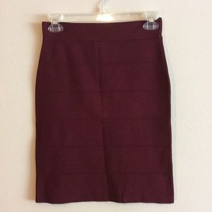 Dalia Burgundy Bandage Skirt Fitted Pencil Stretch